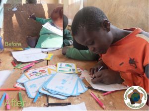 With no stationery, children use a stick to practice writing in the dirt. Your contribution helps school kids enjoy new, colorful learning resources and stationery.