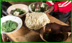 Ugali and greens